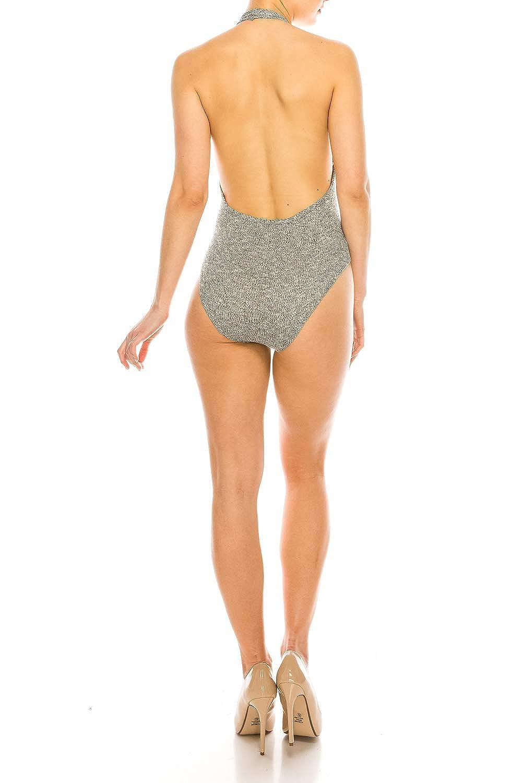 AMANTE CLOTHING/_Halter Ribbed Bodysuit