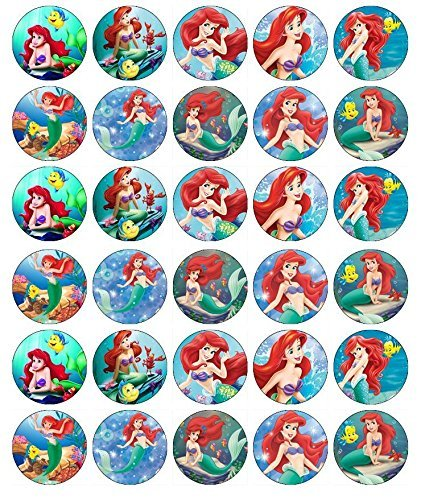 Amazon Com 30 X Edible Cupcake Toppers Little Mermaid Ariel