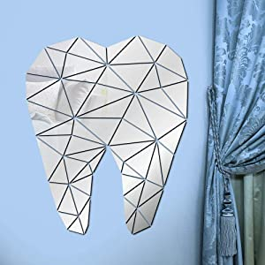 The Geeky Days Dental Care Tooth Shaped Acrylic Mirrored Wall Stickers Dentist Clinic Stomatology 3D Wall Art Decal Orthodontics Office Decor(Silver)