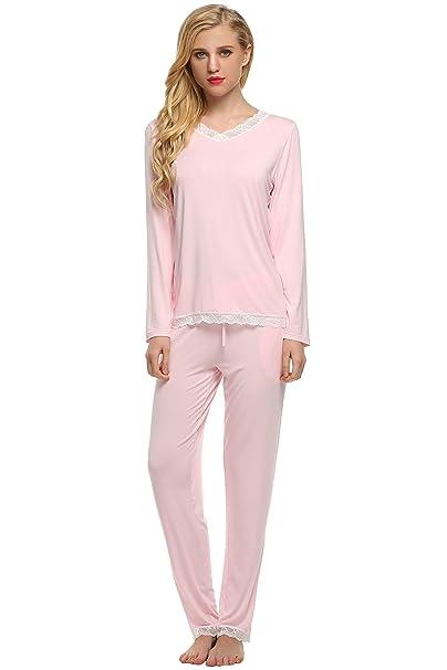 Ekouaer - Pijama - para mujer Rosa rosa Small
