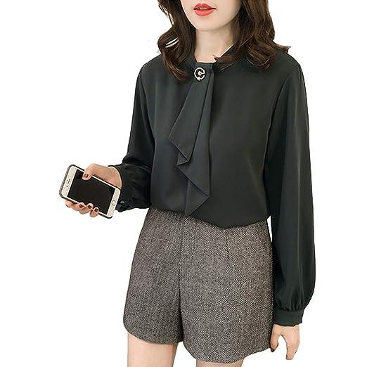 46acda9d462 Aurorao 2019 Women Chiffon Blouse Lantern Longsleeve Loose Solid Color Shirts  Tops Lady T-Shirt