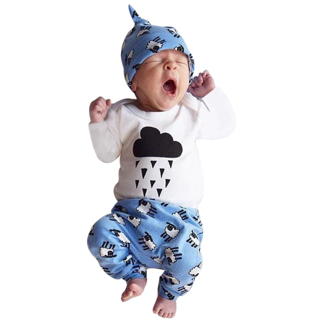 Conjuntos de ropa de invierno,RETUROM otoño Newborn Baby Romper + Pantalones + Juego de Sombrero