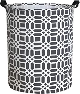 Sanjiaofen Canvas Fabric Storage Bins,Collapsible Laundry Baskets,Waterproof Storage Baskets with Leather Handle,Home Decor,Toy Organizer (Grey)