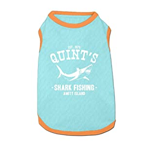 Dog T-Shirt Clothes Quints Shark Fishing Doggy Puppy Tank Top Pet Cat Coats Outfit Jumpsuit Hoodie
