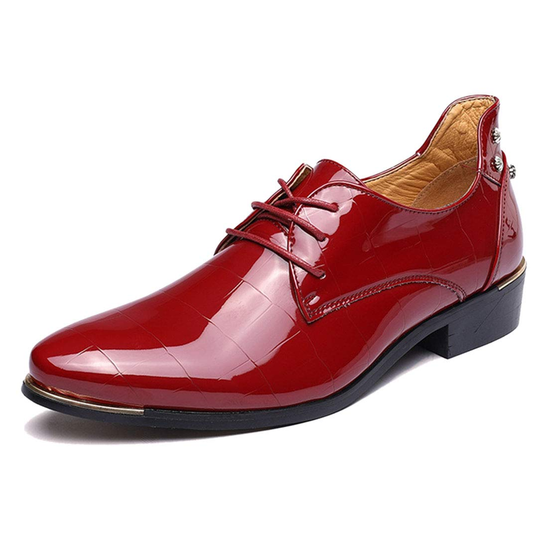 Jiyaru Mens Lace up Oxford Business Casual Pointed Toe Shoes Red Asian 42 / US 8.5