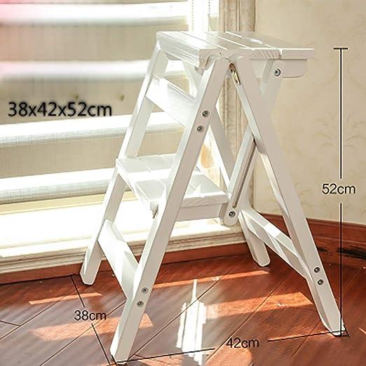 YWTD Escaleras Plegables Escalera de Madera casa Plegable Escalera de Dos Pasos Escalera multifunción Taburete Silla Silla Escalada Interior Madera Maciza taburetes (Color : D): Amazon.es: Hogar