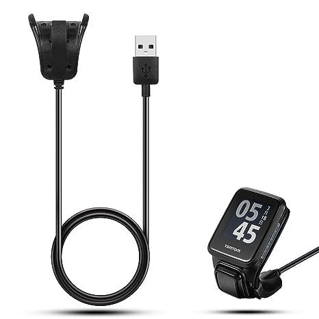 Cargador USB iFeeker con cable, para relojes inteligentes TomTom Adventurer, TomTom Golfer 2, TomTom Runner 2, TomTom Runner 3, TomTom