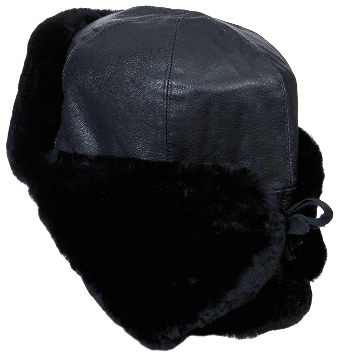 b9ad1f94c Genuine Leather & Sheepskin Russian Naval Officer Winter Hat, Navy insignia