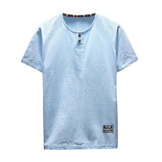 Amazon.com: kaifongfu Mens Shirt,Clearance Mens Linen and Cotton Short Sleeve O-Neck T-Shirt Top Blouse Tee: Clothing