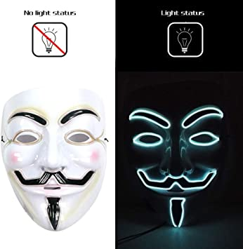 LEHOUR V para Vendetta Máscara LED Máscara de Fiesta anónima de ...