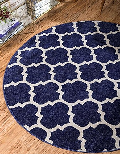 Blue 6' Round Area Rug (Unique Loom Trellis Collection Dark Blue 6 ft Round Area Rug (6' x 6'))