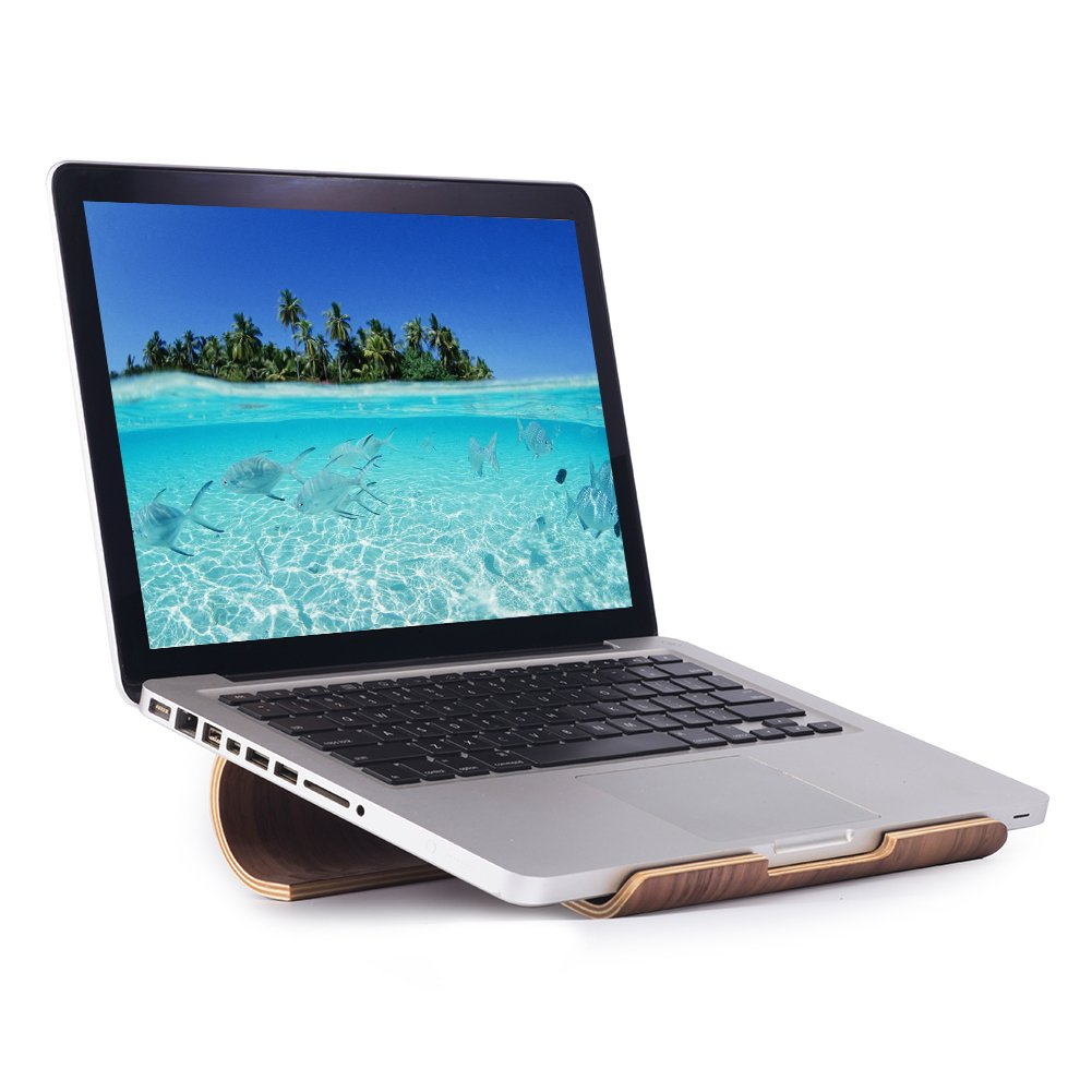 SAMDI Wood Ventilated Laptop, Stand Notebook holder for Macbook iPad Air Pro Mini Retina and Other Tablet and laptop, Portable & Compact (Black Walnut)