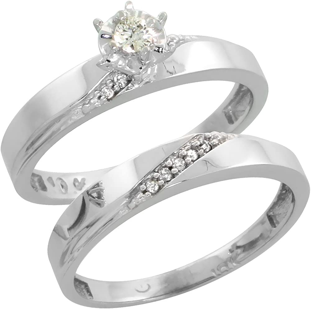 5//32 inch wide Sterling Silver Diamond Engagement Ring Rhodium finish