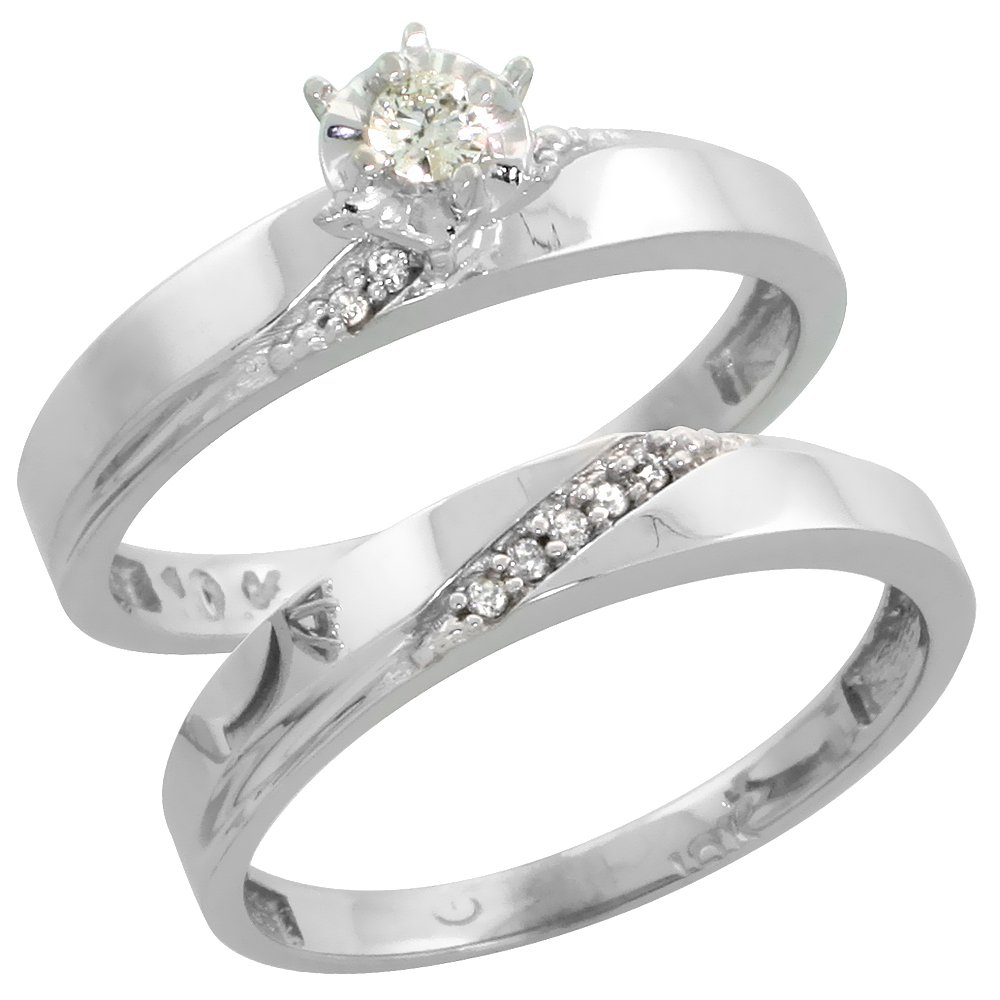 Amazon Sterling Silver Ladies 2piece Diamond Engagement Wedding Ring Set Rhodium Finish 18 Inch Wide Jewelry: 2 Piece Diamond Wedding Rings At Reisefeber.org