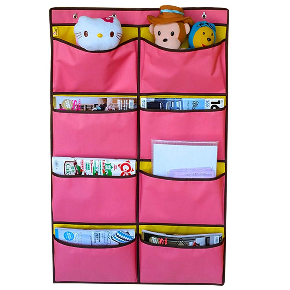 Olpchee 8 Pockets Oxford Cloth Over The Door Hanging File/Folder Organizer Pocket Chart with 4 Hooks for Office Home Classroom School Magazine/Newspaper/File Folders (Pink)
