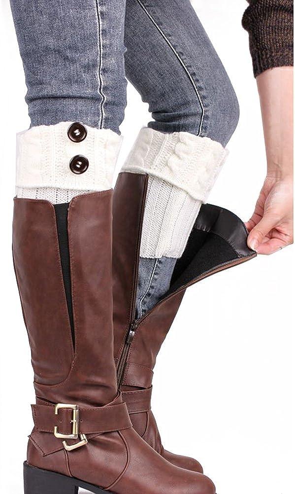 Black WINOMO Leg Warmers Women Knitting Socks Leg Warmers Boot Cover Keep Warm Socks