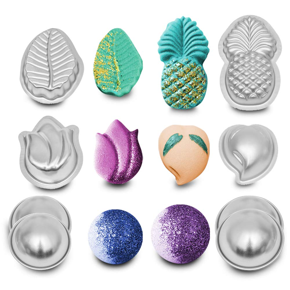 8 PCS Set for DIY Bath Bomb Molds Kit Metal Large with Shapes (Pineapple, Tulip, Leaf, Peach and 4 Hemispheres) - Heavy Duty Aluminum Alloy Molds - Free Crafting EBOOK Included