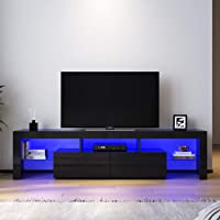 Elegant Entertainment Unit 2 Drawers Gloss Black TV Cabinet Stand with RGB LED Light 1800mm