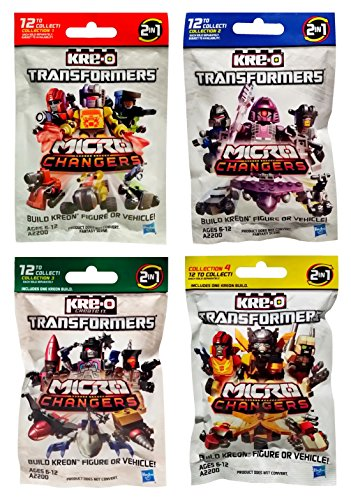 Transformers Figure Mini - Hasbro Kre-O Transformers Micro Changers 4 Pack Bundle Includes: Collection 1, 2, 3 & 4 Mini Figure Blind Bag Mystery Packs (1 Pack of Each)