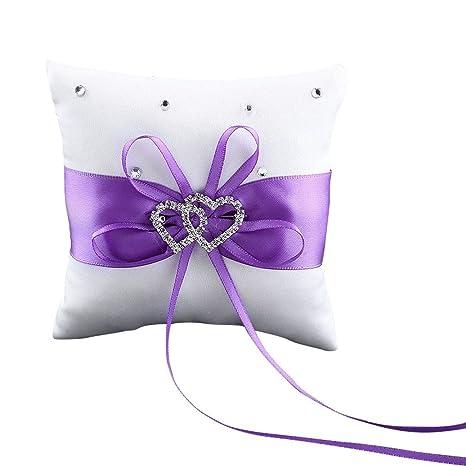 Westeng Cojín para anillos de boda almohada portador double-heart con lazo y anillos anillos de boda decoración 10 x 10 cm, raso, Morado, mediano