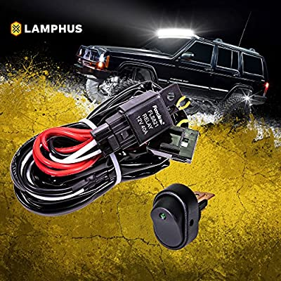 Wiring Harness Kit >> Lamphus 12v 40a Off Road Atv Jeep Led Light Bar Relay Wiring Harness Kit Green Mini On Off Switch