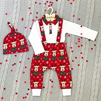 Weihnachten Baby Gentleman Junge Kleidung Outfits Button Down Top Shirt Stehkragen Langarm Babybody Hirsch Druck Strap Hose mit Hut Baby Bekleidungsset 3Pcs