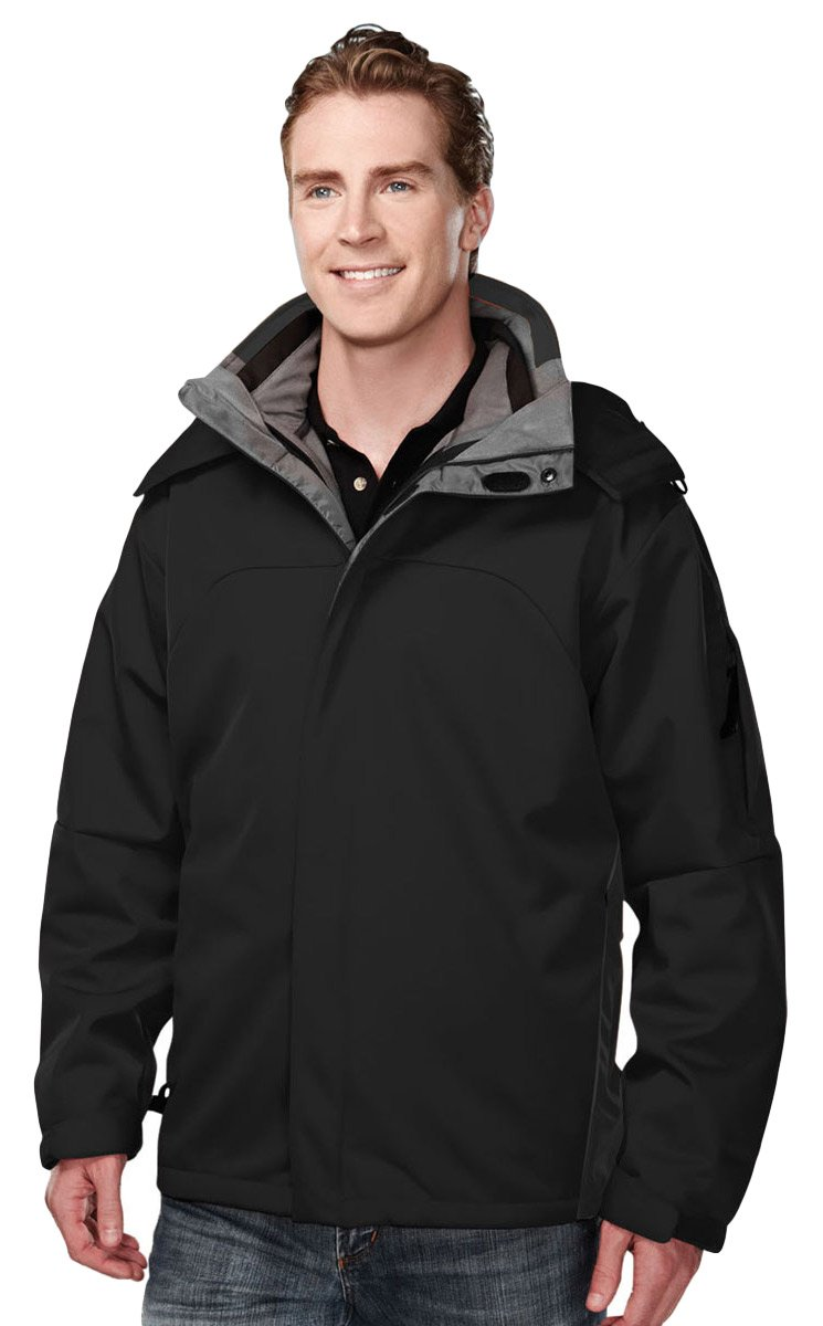 Tri-Mountain 6850 Poly bonded soft shell 3-in-1 jacket - Black - XL
