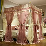 European solid color four corner bed canopy mosquito net, Princess style Court Floor Three-door Double Home Double-layer moisture curtain-B 180x220cm(71x87inch)