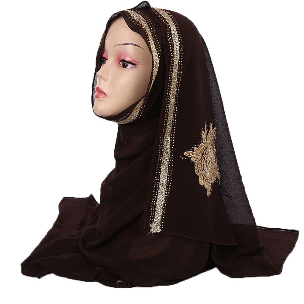 Czech Rhinestones Gold Stamping Pearl Chiffon Islamic Shawl Wedding Hijab Color 6
