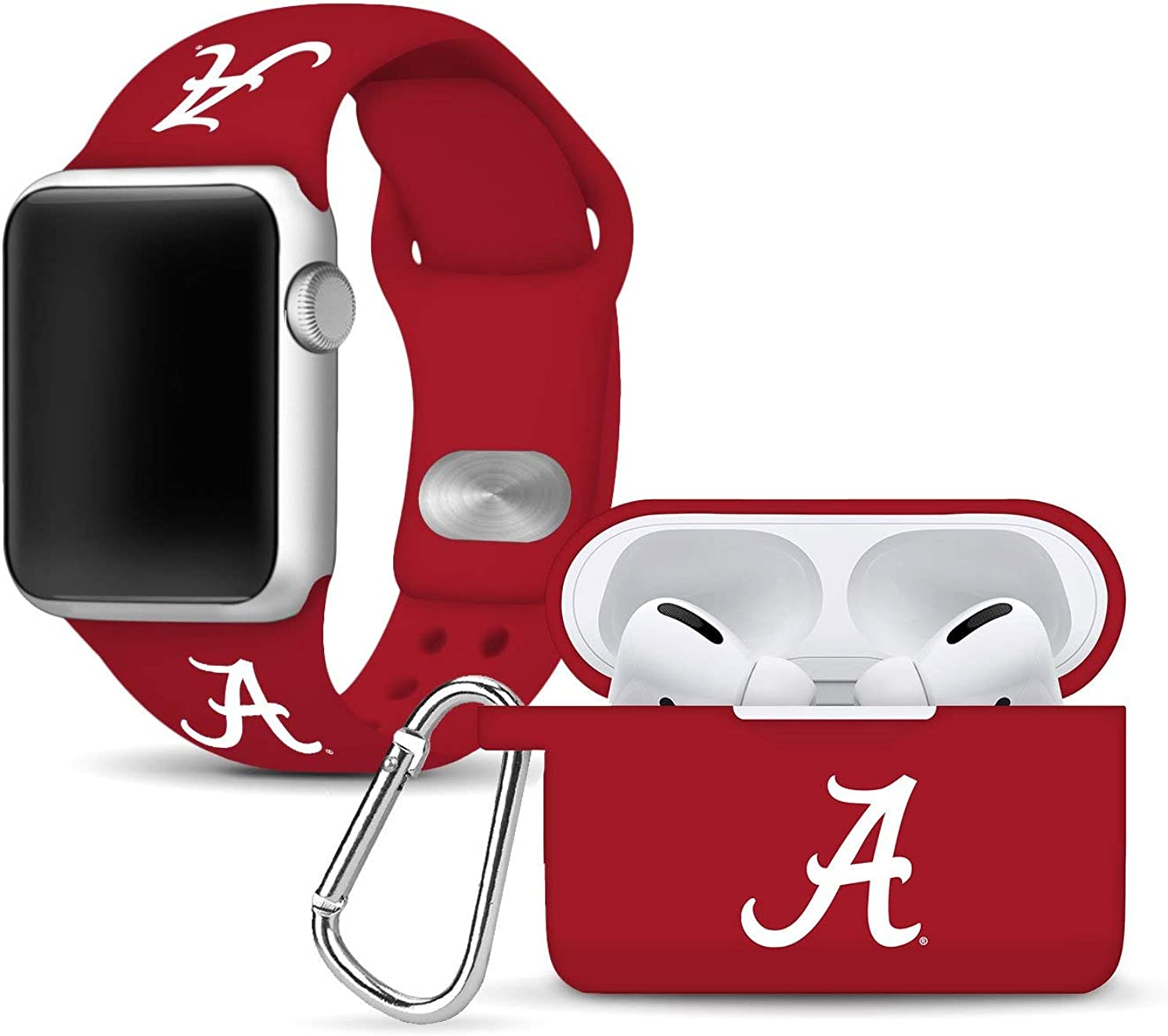 Alabama Crimson Tide Silicone Watch Band and Case Cover Combo Package Compatible with Apple Watch and AirPods Pro Battery Case