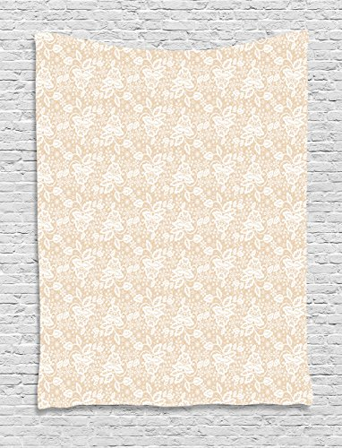 Lunarable Cream Tapestry, Bridal Inspirations in White Lace Design Vintage Retro Elements Mellow Color Palette, Wall Hanging for Bedroom Living Room Dorm, 60 W X 80 L inches, Peach White