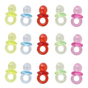 Toyvian 50 Unids Mezclado Acrílico Plástico Lindo Pequeño Bebé Chupetes para Baby Shower Decoraciones Mesa Dispersión Favores de Fiesta Juegos