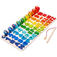 Wooden Number Puzzle Game Montessori Toys for Toddlers - Fishing Game Math Toy for Age 2 3 4 5 6 Years olds Kids…
