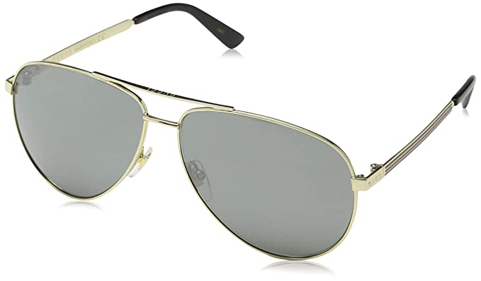 c5afdd7f6fb4 Amazon.com: Gucci Men,Women GG0137S 61 Gold/Grey Sunglasses 61mm ...