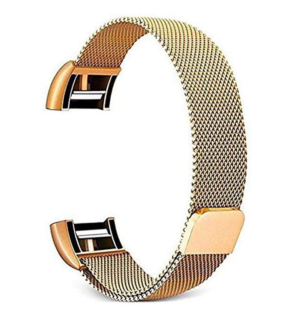 for Fitbit Charge 2 Band –Erencook Stainless Steel Magnet Metal Replacement Bracelet Strap for Women Men (L, Gold)