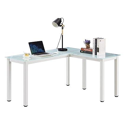 Delicieux GreenForest L Shape Desk Tempered Glass Corner Desk Office Computer PC  Laptop Study Table 3 Pieces