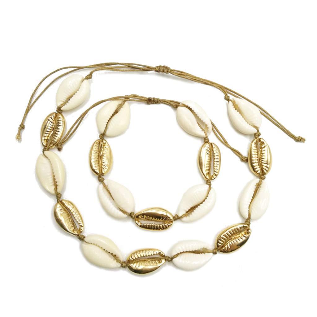 Baiyao 2 Pcs//Set Collier De Cauris Coquillages Naturels En Alliage Dor Argent Coquilles Perles Hawaii Plage Tour De Cou R/églable Pour Les Femmes Lady
