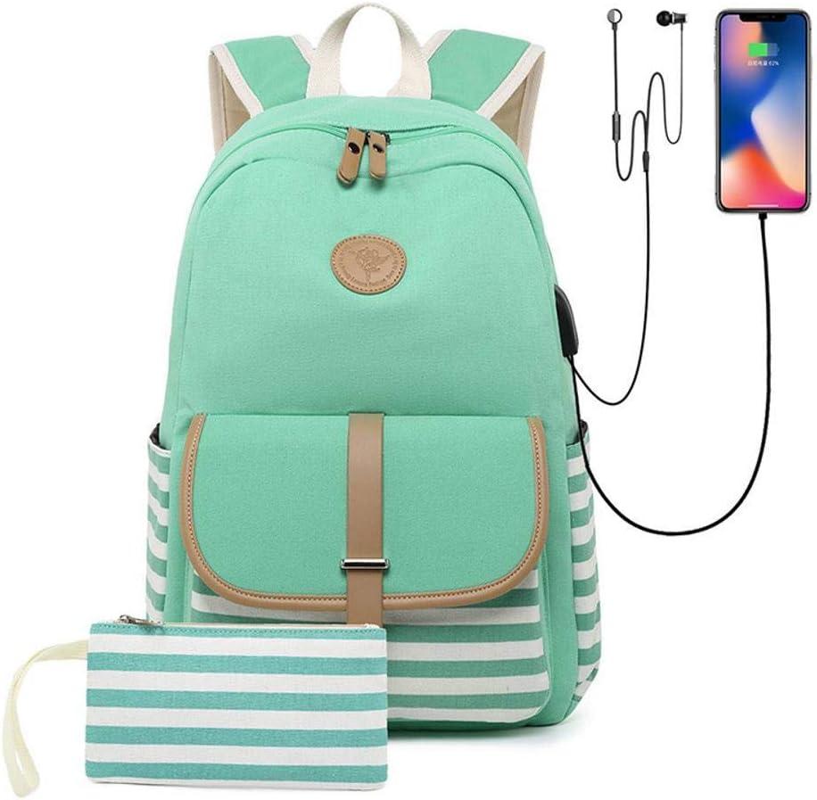 Mayanyan Simple Female Bag Large Capacity Canvas Bag Korean Print Backpack Bag Two-Piece School Bag Set