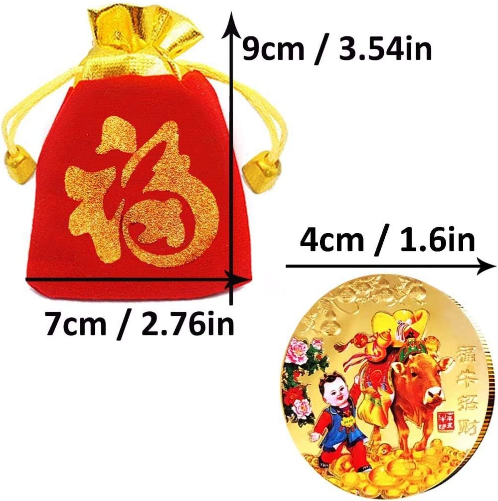 Gilding Present Souvenir Cattle New Year Gift Lucky Zodiac Gifts Playstyle 2021 Ox Year Commemorative Gold Color Plated Coins Drawstring Bags Printed with Blessing Type 10 10Coins 10Bags