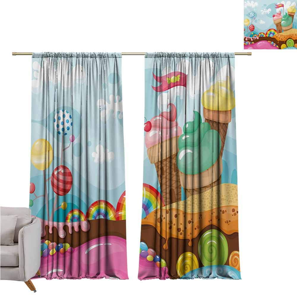 GUUVOR Ice Cream Heat Insulation Curtain Dessert Land with Rainbow Candies Lollipop Trees and Cupcake Mountains Cartoon for Living Room or Bedroom W100 x L84 Inch Multicolor by GUUVOR