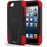 Vakoo BX-HQ1J-EO7L02 iPhone 5S/5 Case Shield Series Dual Layer Defender Shockproof Drop Proof High Impact Hybrid Armor Silicone Rugged Case for Apple iPhone SE 5 5s with Kickstand – Red/Black