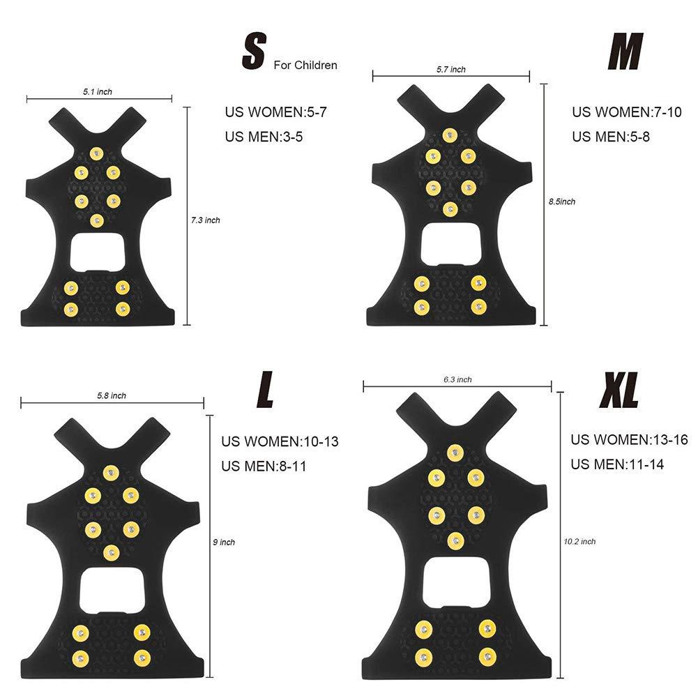 Vero Acciaio Inox Manopole di Trazione Tacchetti Antiscivolo su Gomma Scarpa Boot Trazione Calzature Stretch per Escursioni su Ghiaccio QZY Ice Tacchetti in Acciaio