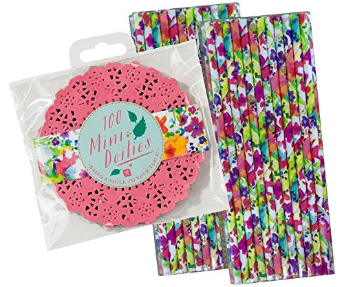 Talking Tables Mini Doilies in Pink Green and Yellow 100 Pack Plus 50 Watercolor Floral Paper Straws