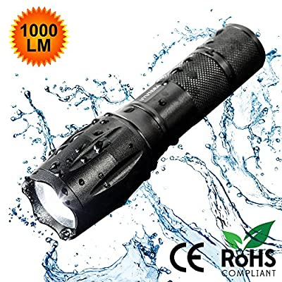 UYUTERA Brightest LED Waterproof Flashlight – Ideal as Tactical or Survival Flashlight with Zoomable Focus & Multiple Light Modes – Heavy-Duty Build & Easy to Use Design