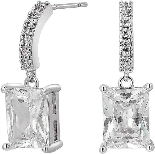 Silver Earrings  Drop of Cubic Zircon Dangle Earrings