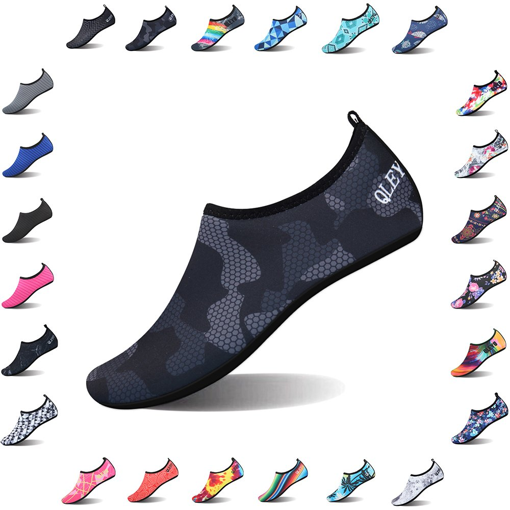 QLEYO Water Shoes Quick Dry Shoes for Men and Women Barefoot Skin Shoes Beach Water Shoes for Swim Yoga surf VDSX003-M5-39/40