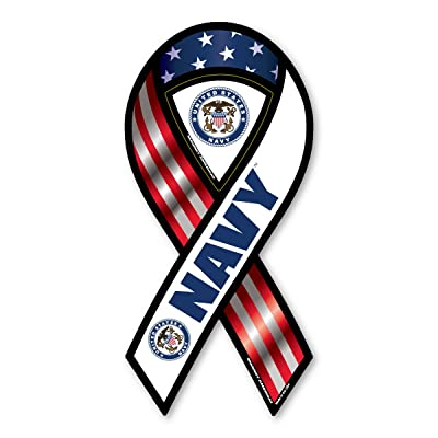 2-in-1 Red, White, and Blue Navy Ribbon Magnet: Automotive