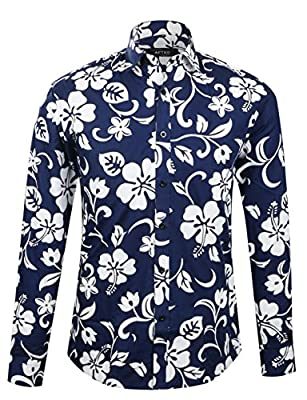 APTRO Men's 100% Cotton Long Sleeve Floral Button Down Shirt