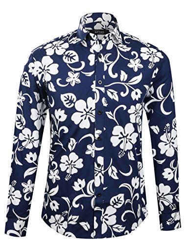 (APTRO Men's Flower Printing Luxury Long Sleeve Shirt APT1015 S )