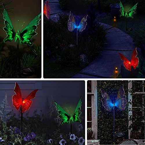 Solarmks garden solar lights outdoor decorative stake lights chameleon multi color changing led for Solar garden stakes color changing